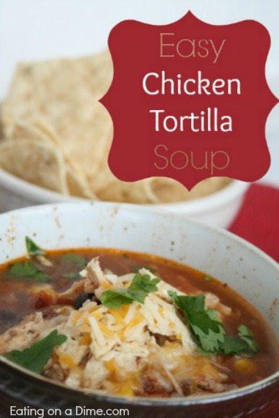 Easy Chicken Tortilla Soup Recipe  Crockpot Chicken Tortilla Soup is easy to make in minutes