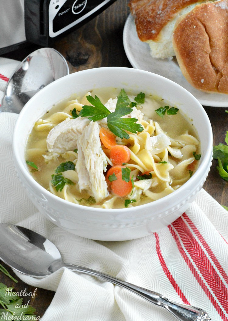 Easy Crockpot Chicken Noodle Soup  Easy Crock Pot Chicken Noodle Soup Meatloaf and Melodrama