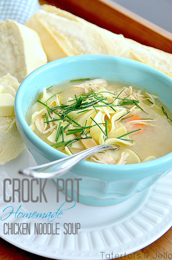Easy Crockpot Chicken Noodle Soup  Homemade Crock Pot Chicken Noodle Soup