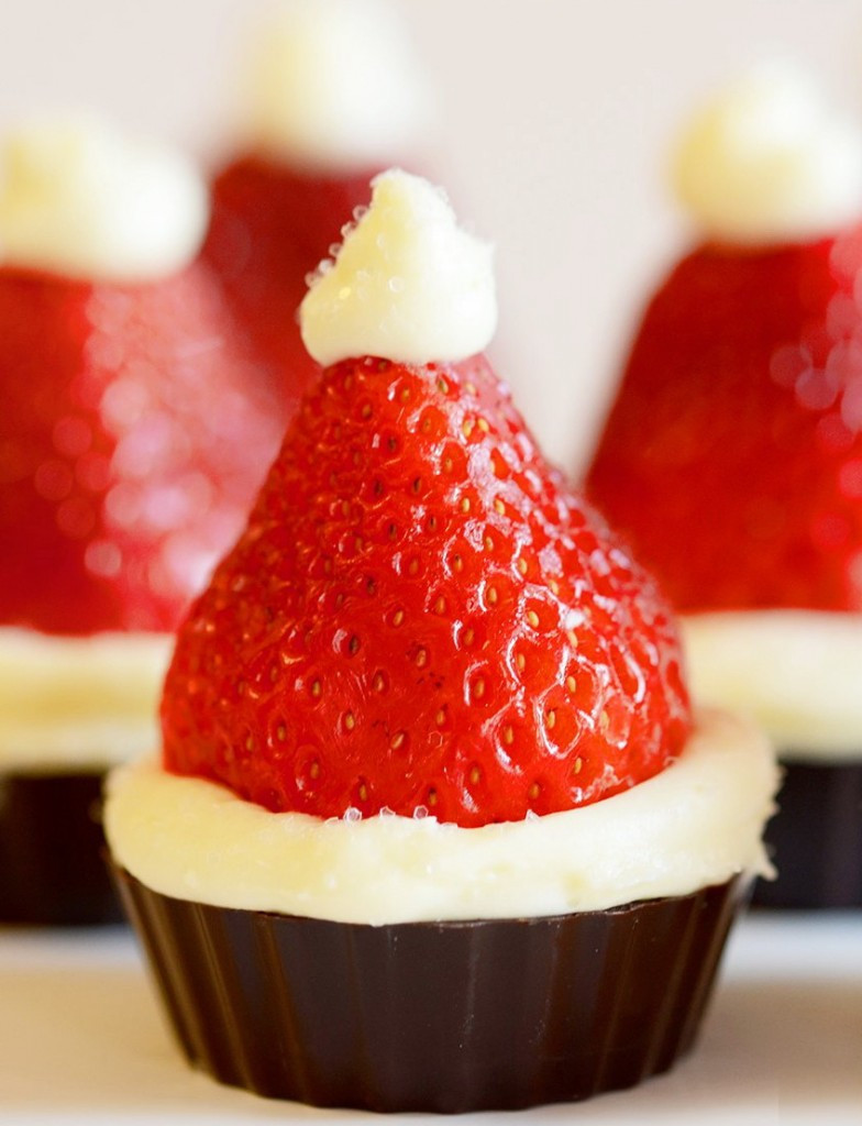 Easy Holiday Dessert Recipes  Santa Hat Mini Cheesecake Recipe – Christmas Party Dinner