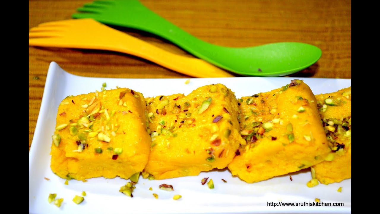 Easy Indian Dessert Recipes  Mango Kalakand Easy Indian Dessert Recipe