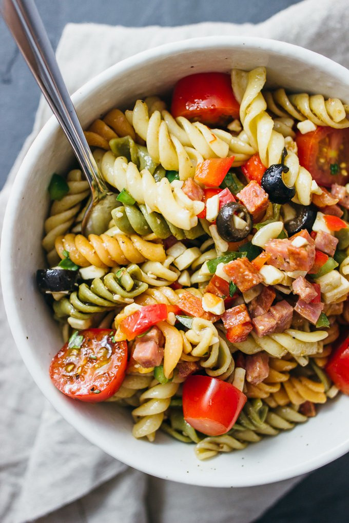 Easy Italian Pasta Salad  Best easy pasta salad with italian dressing savory tooth