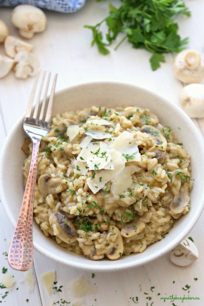 Easy Mushroom Risotto  Easy Mushroom Risotto The Busy Baker