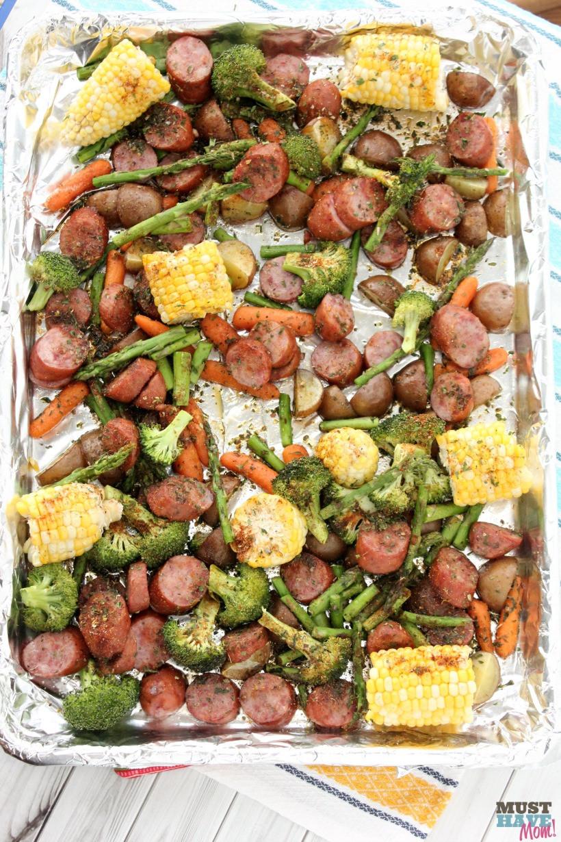 Easy One Pan Dinners  Sheet Pan Dinners Easy Sausage & Veggie Recipe Must