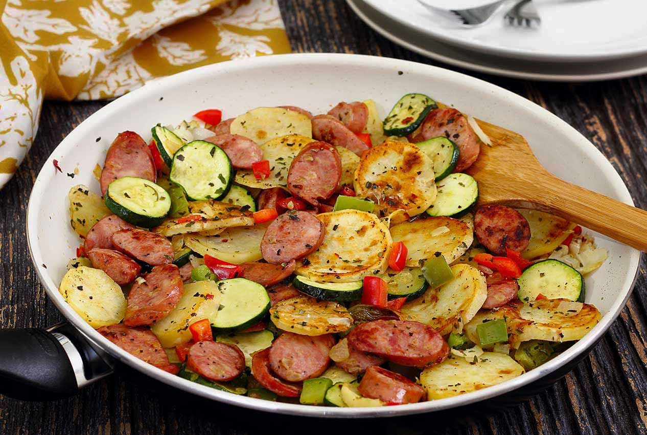 Easy Paleo Dinner  Italian Sausage & Potato Quick Skillet Recipe