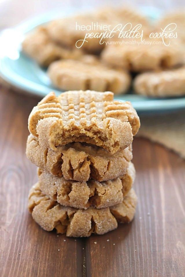 Easy Peanut Butter Cookies  Healthier Easy Peanut Butter Cookies Yummy Healthy Easy
