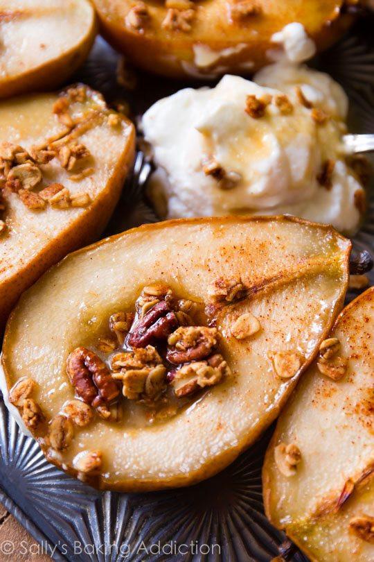Easy Pear Dessert  Simple Maple Vanilla Baked Pears Video Sallys Baking