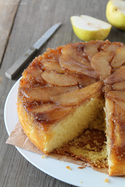 Easy Pear Dessert  Spiced Pear Upside Down Cake Love Grows Wild