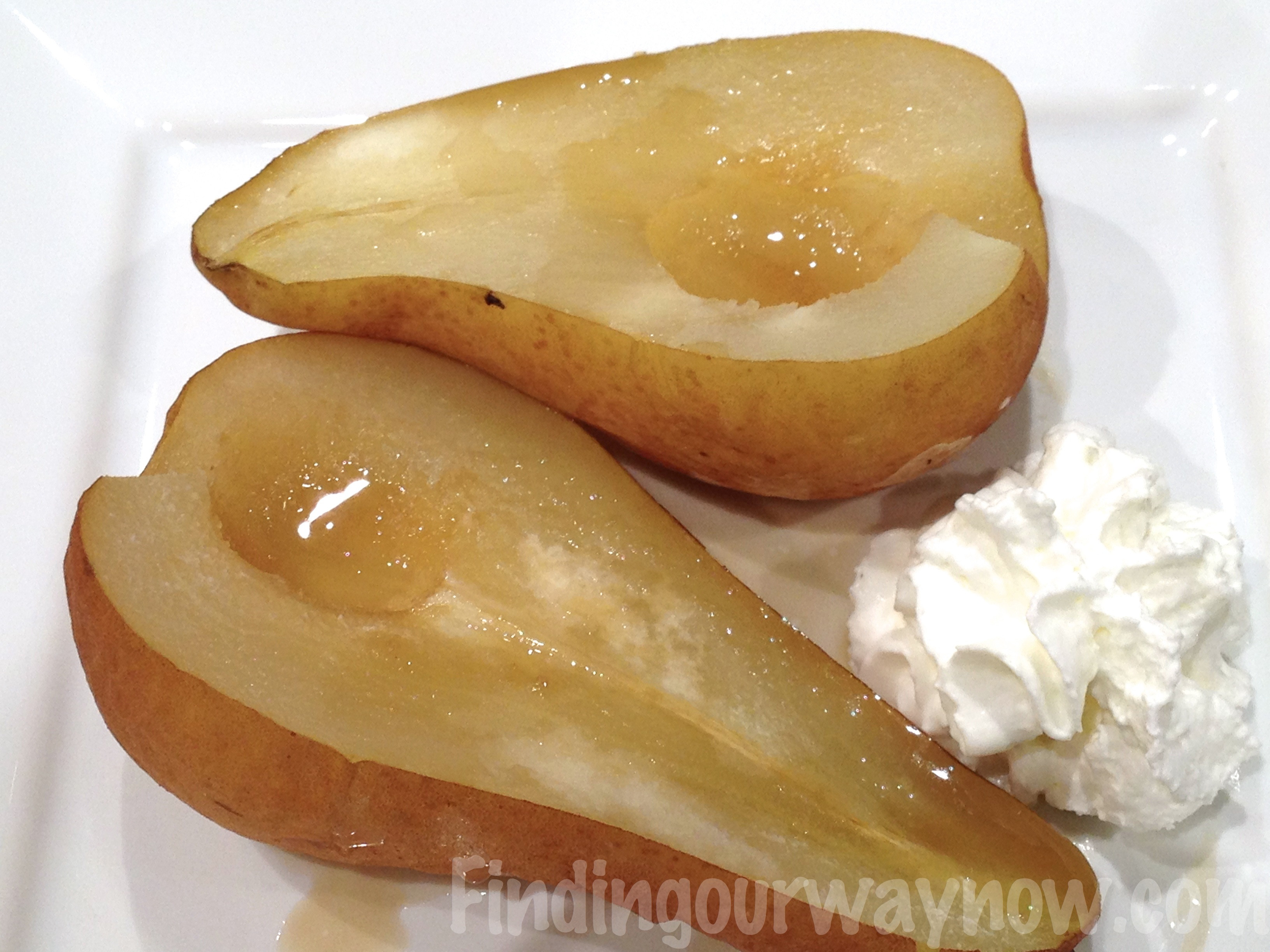 Easy Pear Dessert  Baked Pears In The Microwave Recipe Finding Our Way Now