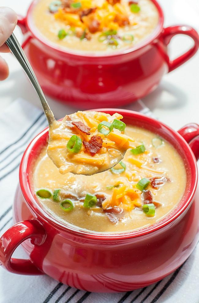 Easy Potato Soup Recipe  Slow Cooker Sweet Potato and Cauliflower Soup