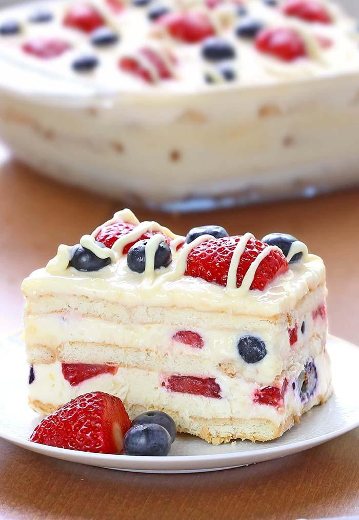 Easy Pudding Desserts  No Bake Summer Berry Icebox Cake Cakescottage