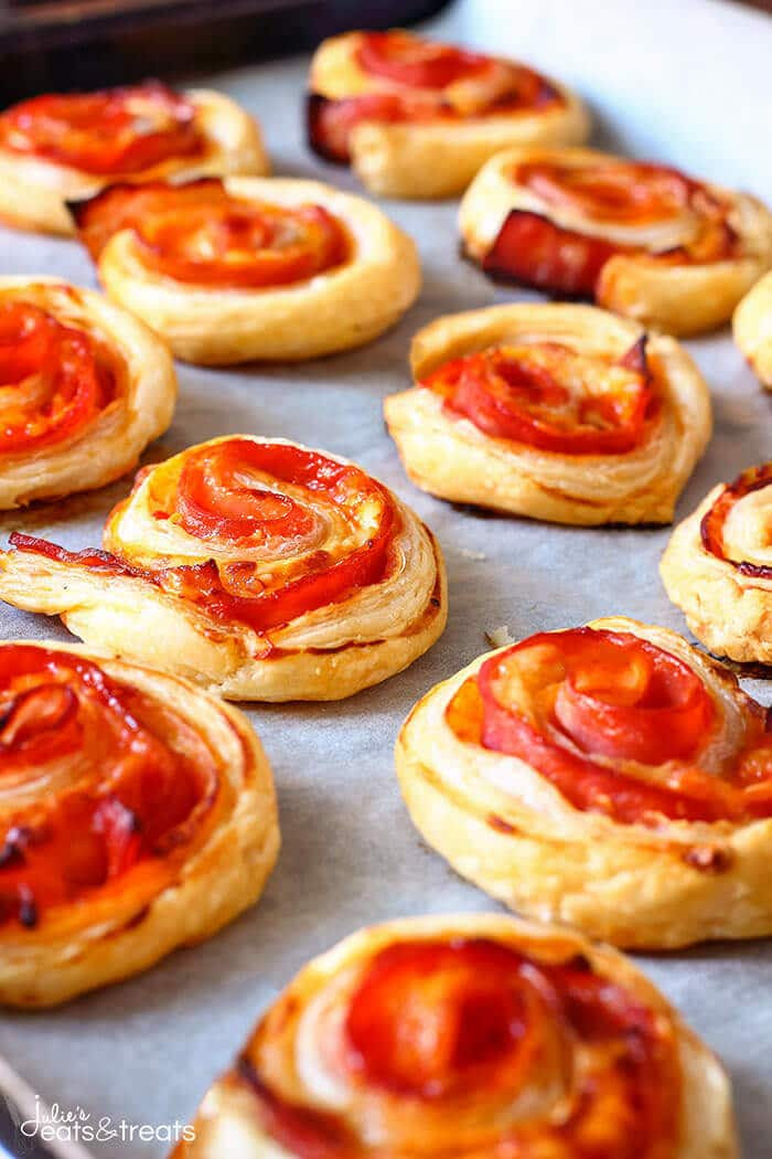 Easy Puff Pastry Appetizers  Puff Pastry Bacon Pinwheels with Cheddar Julie s Eats