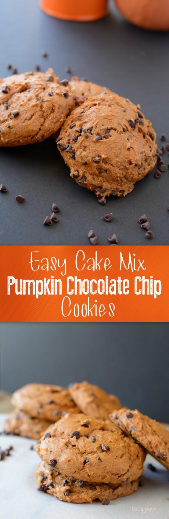 Easy Pumpkin Chocolate Chip Cookies  Easy cake mix pumpkin chocolate chip cookies