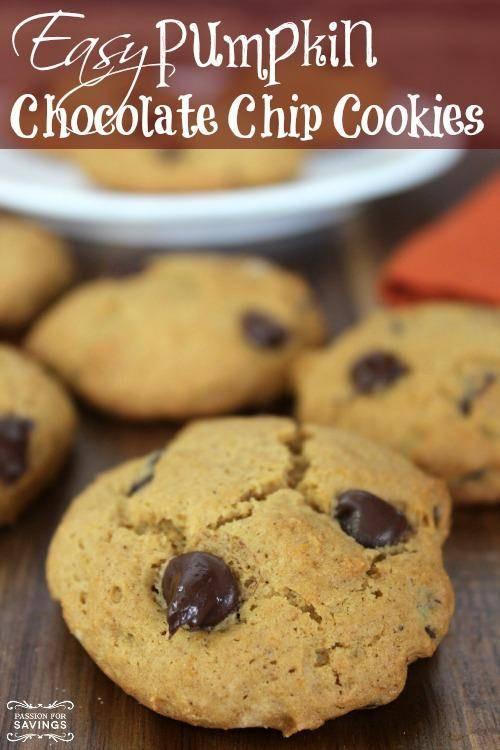 Easy Pumpkin Chocolate Chip Cookies  Easy Pumpkin Chocolate Chip Cookies Recipe