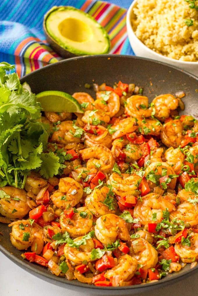 Easy Shrimp Dinners  Quick easy Mexican shrimp skillet video Family