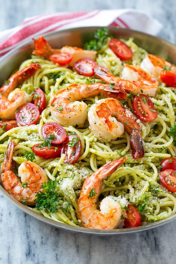 Easy Shrimp Pasta  Shrimp Pesto Pasta Dinner at the Zoo