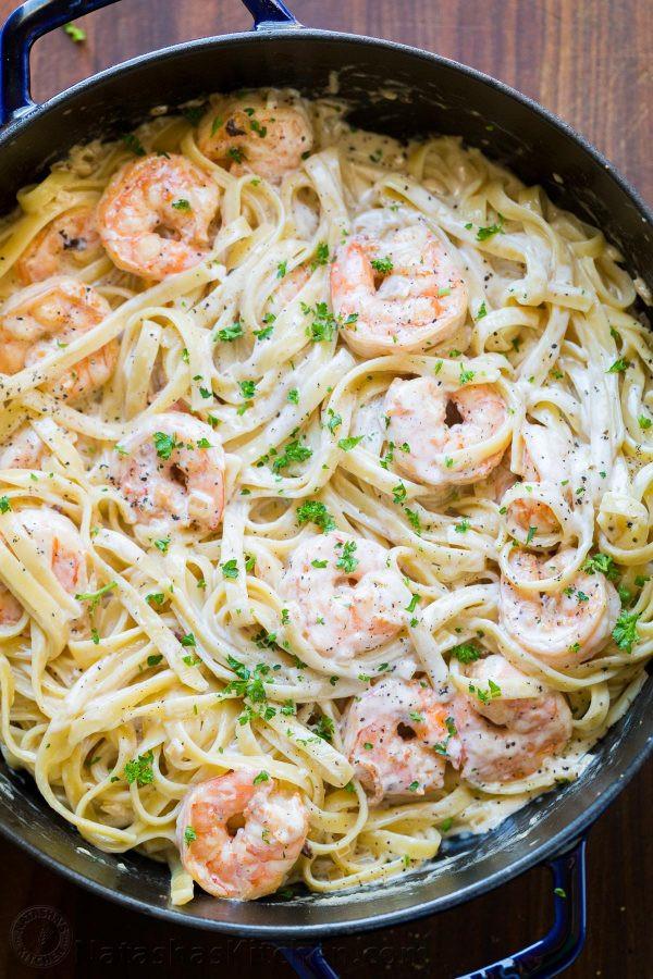 Easy Shrimp Pasta  Creamy Shrimp Pasta Recipe VIDEO NatashasKitchen