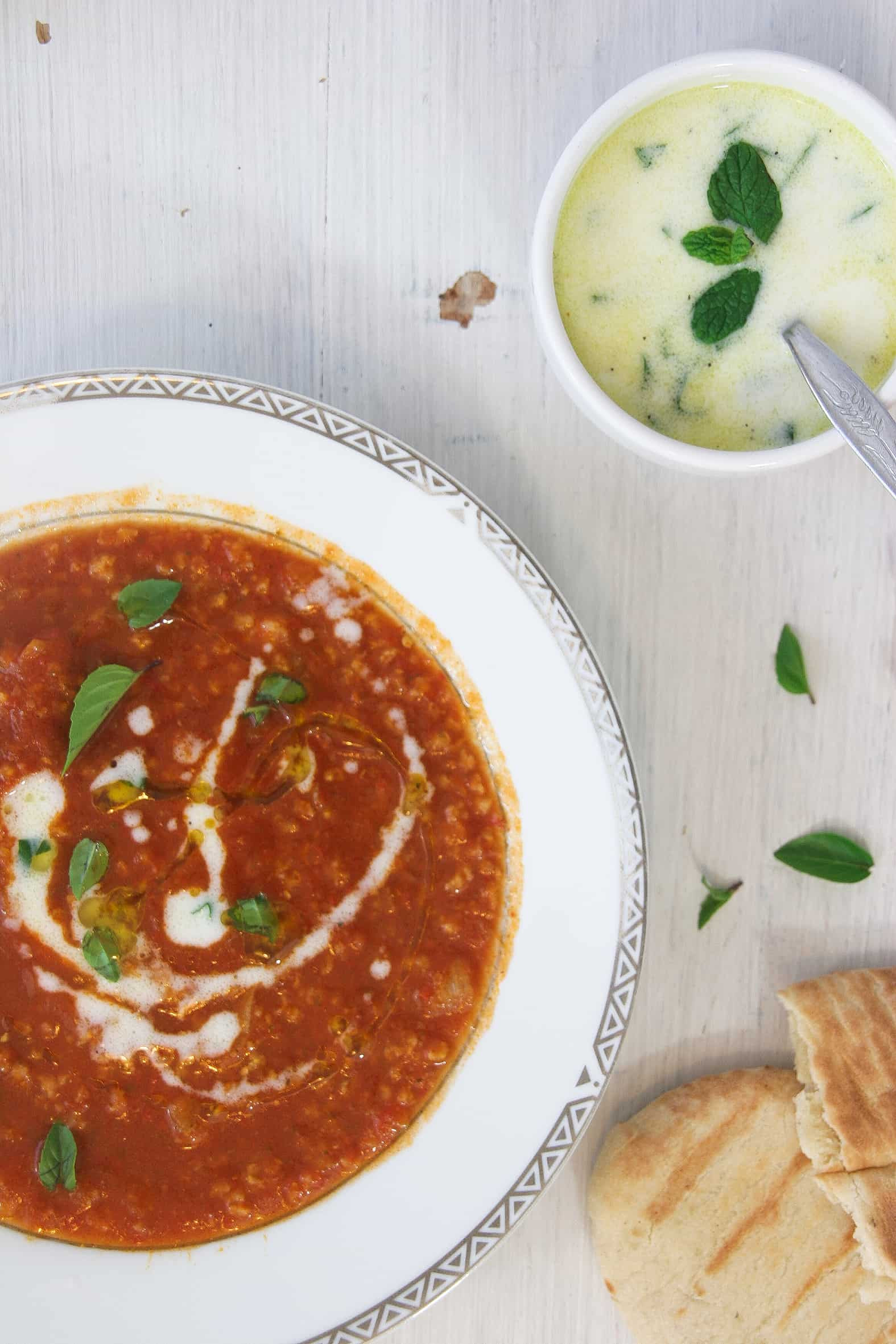 "Easy Tomato Soup  Easy tomato soup with homemade vegan ""tzantziki"" dressing"
