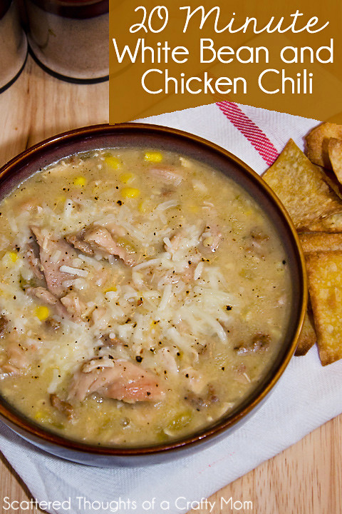 Easy White Bean Chicken Chili  Easy 20 Minute White Bean and Chicken Chili Scattered