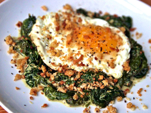 Egg Dinner Recipes  Dinner Tonight Fried Eggs with Mustard Creamed Spinach