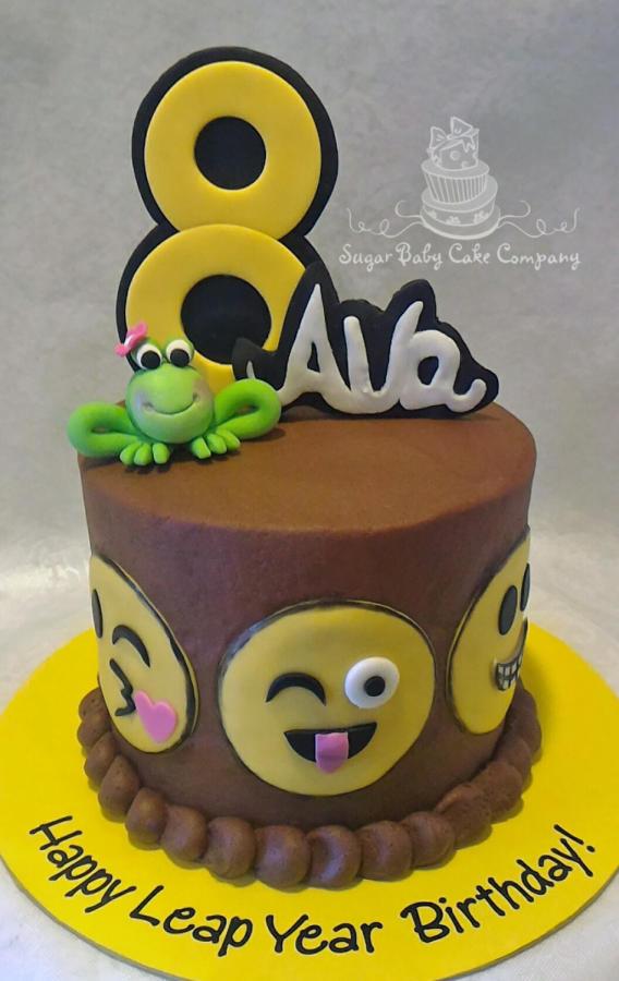 "Emoji Birthday Cake  Emoji ""Leap Year"" Birthday Cake cake by Kristi CakesDecor"