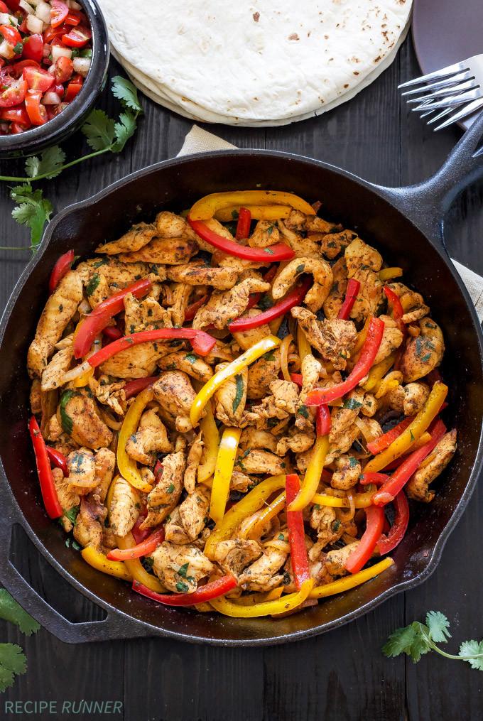 Fajitas Recipe Chicken  Skillet Chicken Fajitas Recipe Runner