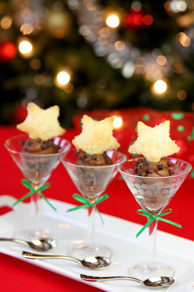 Fancy Christmas Desserts  Elegant Sugared Pastry Stars & Chocolate Mousse Dessert