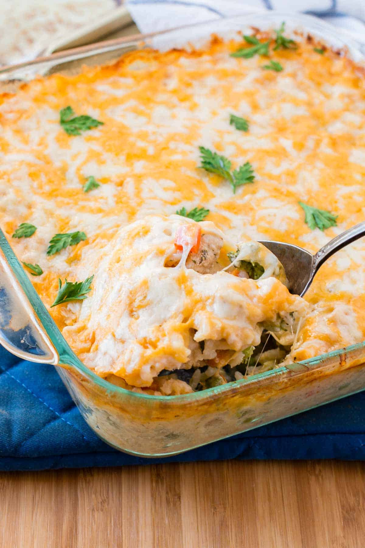 Fast Easy Dinner  Cheesy Chicken and Rice Casserole Oh Sweet Basil