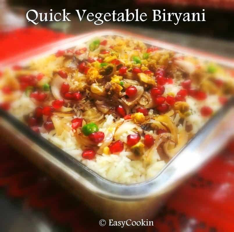 Fast Vegetarian Recipes  Quick Ve able Biryani Basic Indian Biryani Recipe