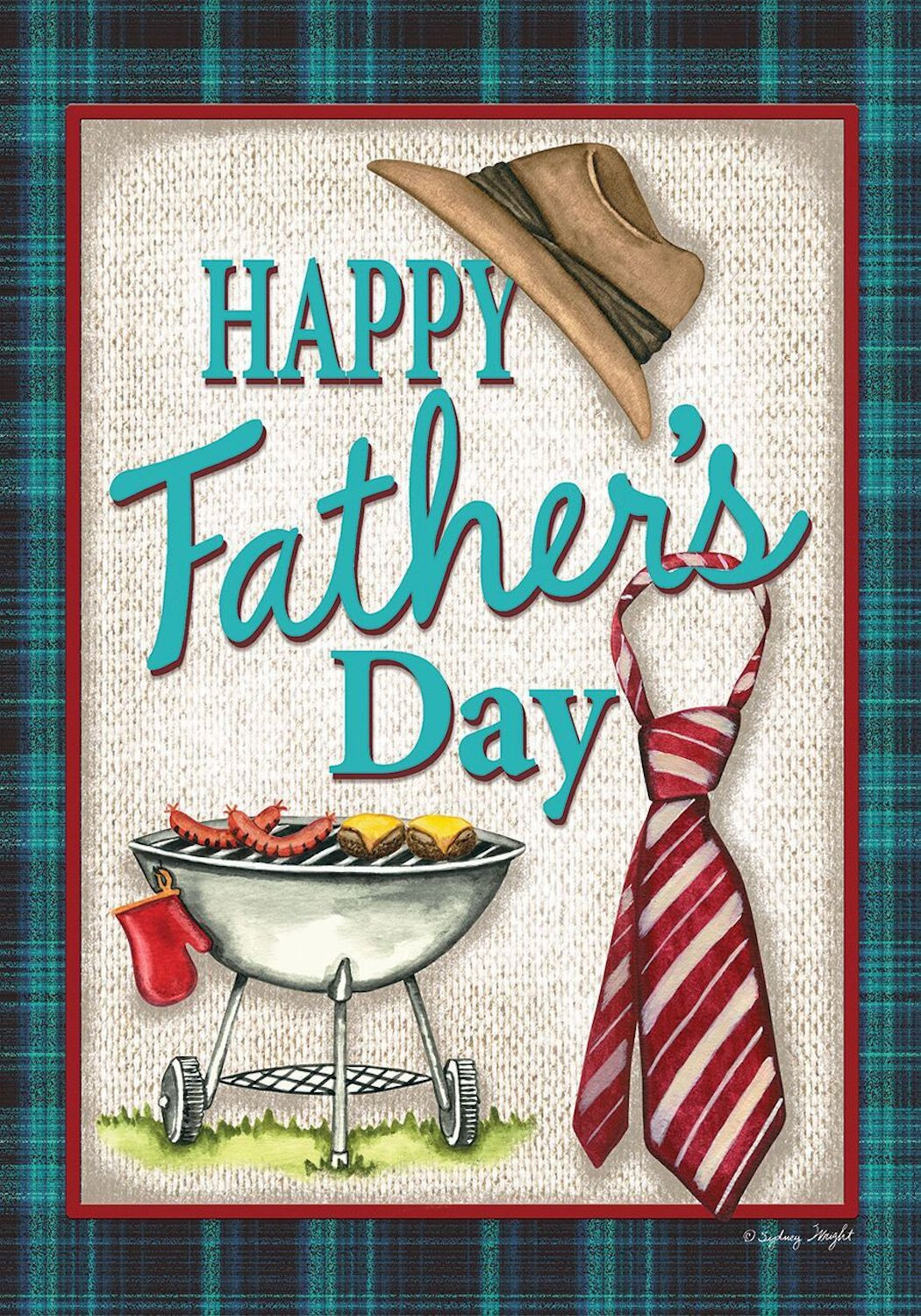 Father'S Day Dinner  Happy Father s Day Grillin Garden Flag Hat and Tie