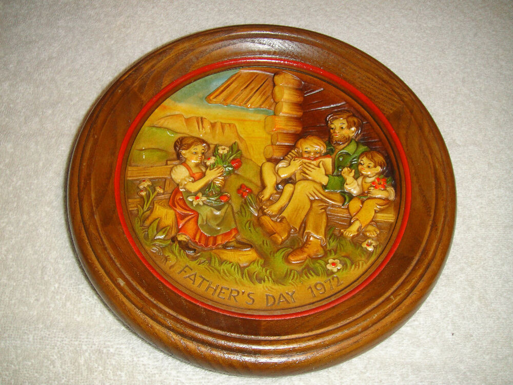 Father'S Day Dinner  Vintage ANRI 1972 Father s Day Wood Carved Plaque Detailed