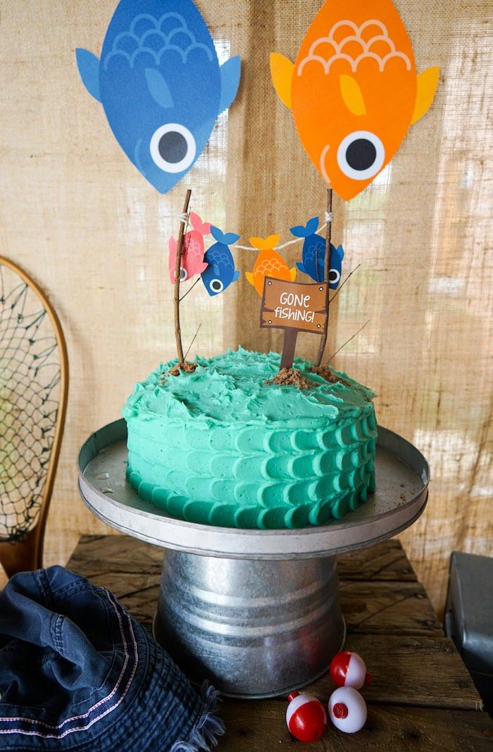 Fish Birthday Cake  Kara s Party Ideas William s Gone Fishing Birthday Party