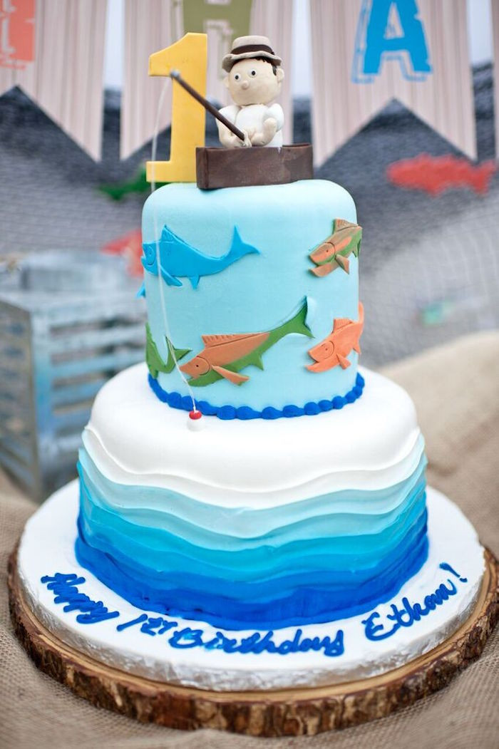Fish Birthday Cake  Kara s Party Ideas Colorful Gone Fishing Birthday Party