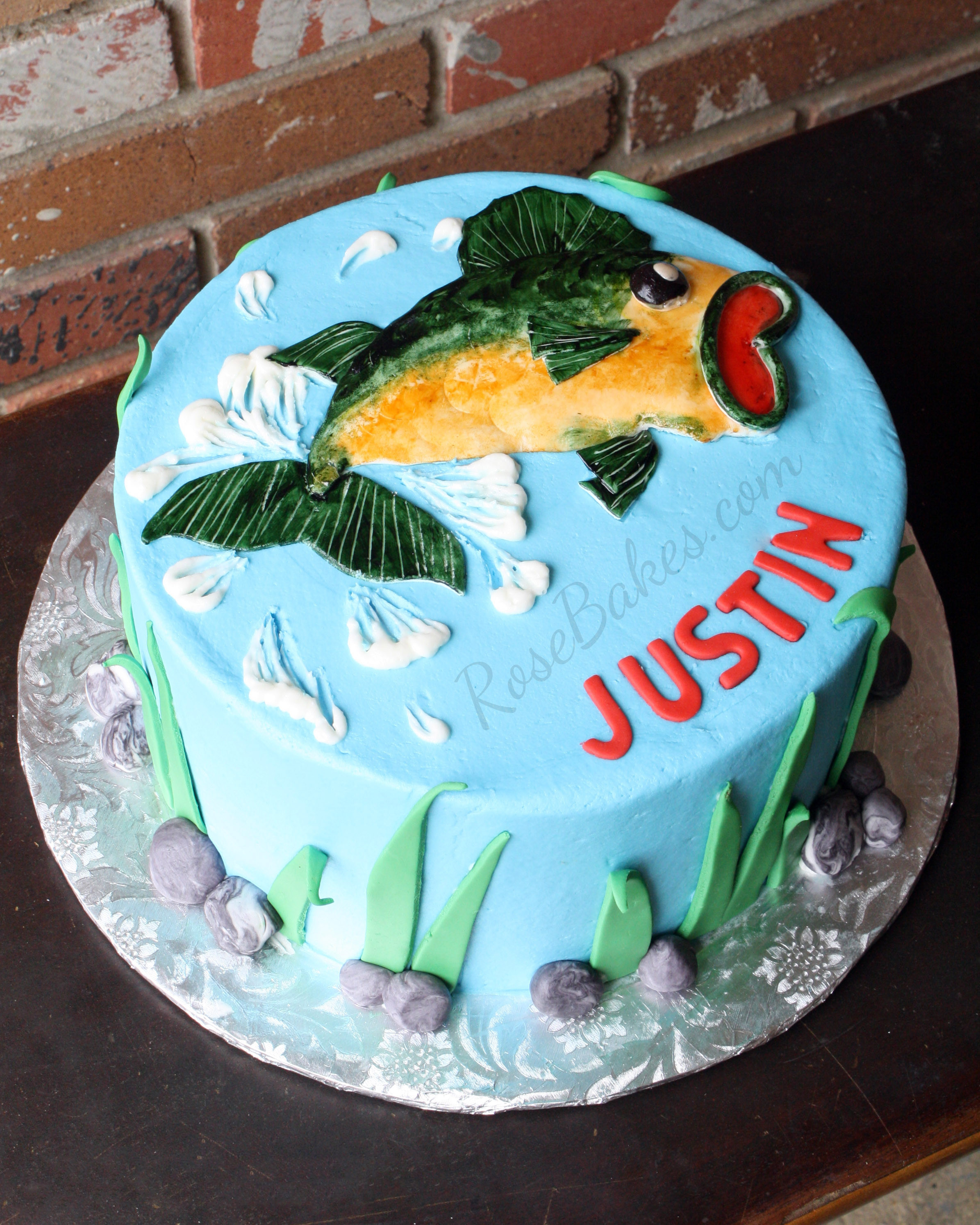 Fish Birthday Cake  Bass Fishing Cake Rose Bakes