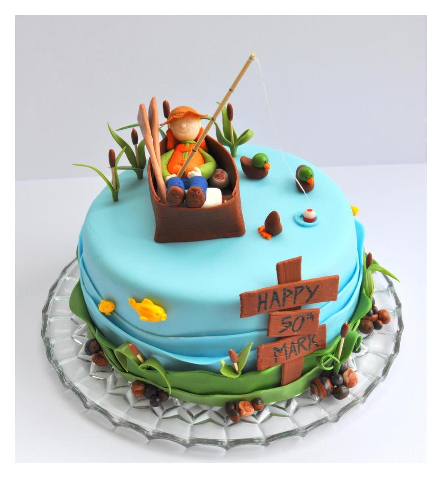 Fish Birthday Cake  Fishing Cake With Fisherman Fish Ducks Cattails