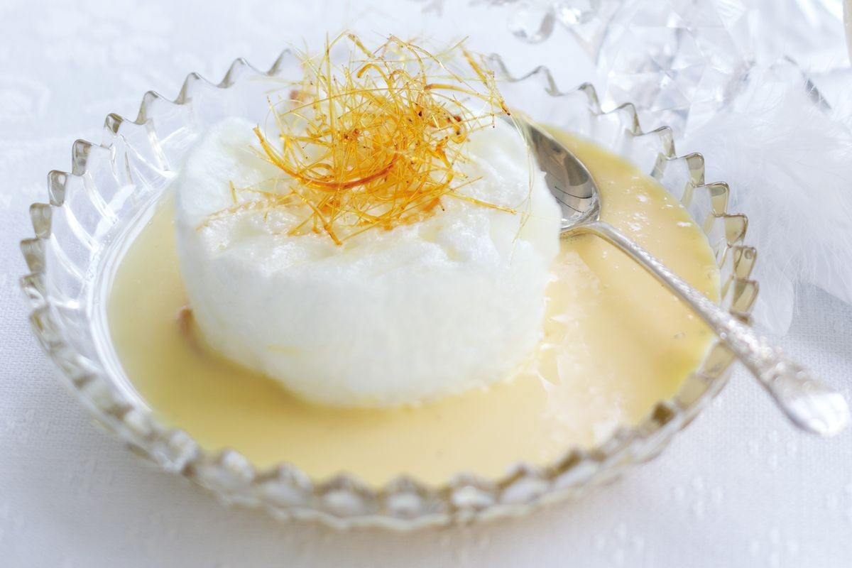 Floating Island Dessert  Floating islands with spun sugar Recipes delicious