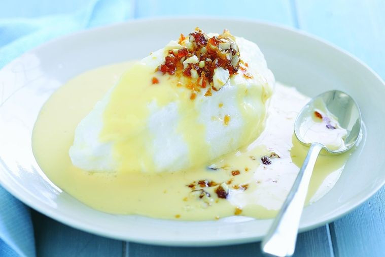 Floating Islands Dessert  Floating islands with almond praline Recipes delicious