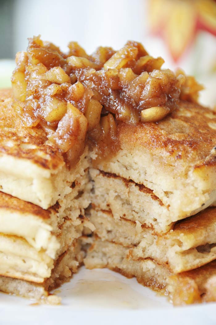 Fluffy Vegan Pancakes  Old Fashioned Fluffy Vegan Pancakes with Apple Spice
