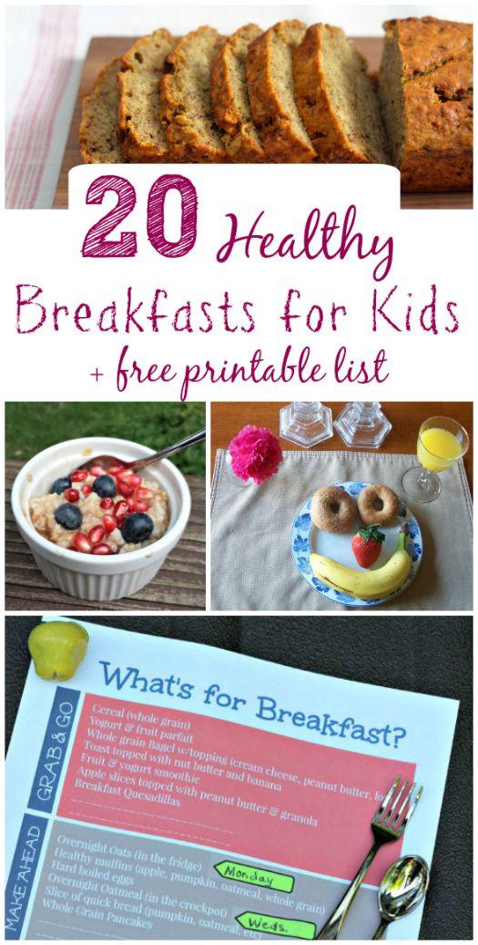 Free Breakfast For Kids  20 Healthy Breakfast Ideas for Kids Free Printable