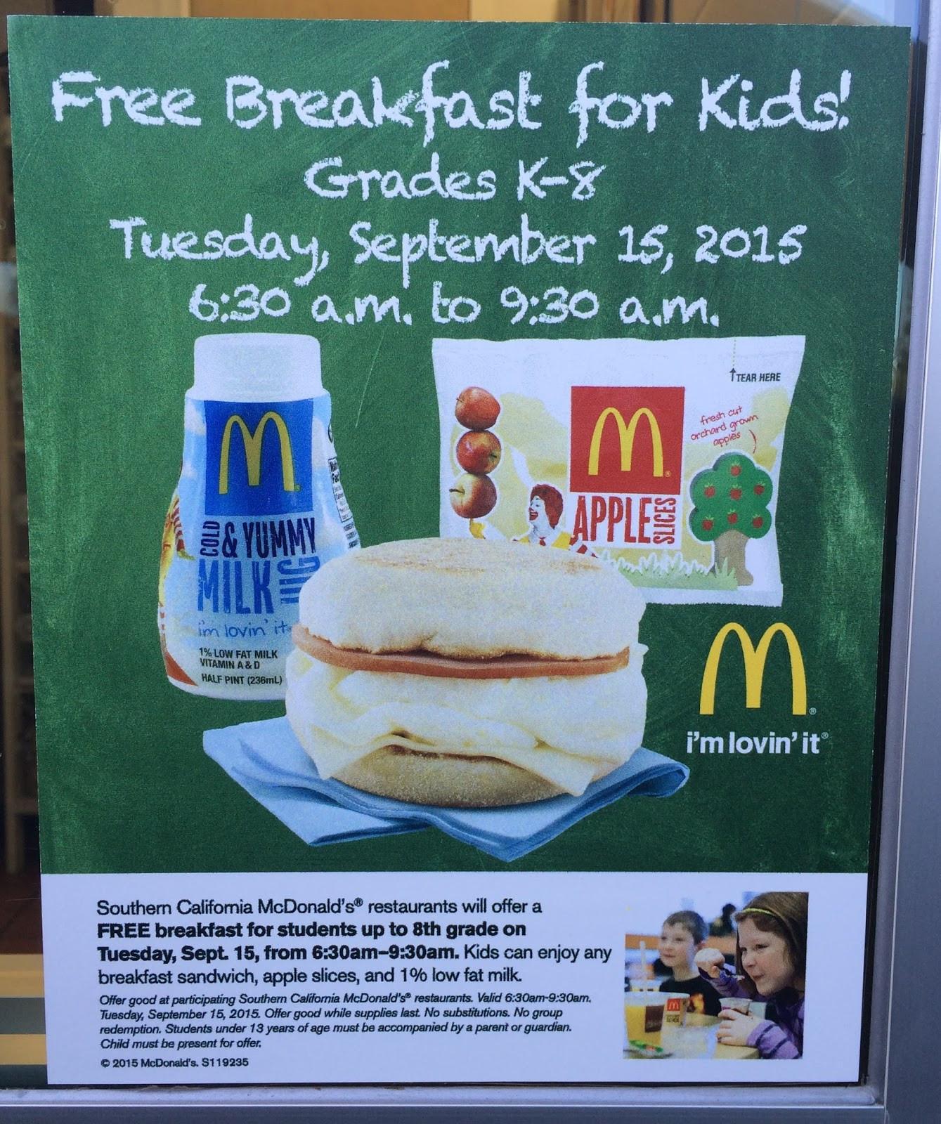 Free Breakfast For Kids  Montebello Mom Free Breakfast for Kids on 9 15 McDonalds