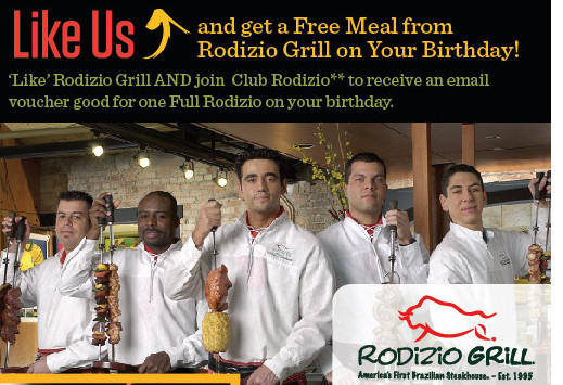 Free Dinner On Your Birthday  Free Meal at Rodizio Grill on your Birthday Freebies2Deals