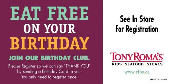 Free Dinner On Your Birthday  Going Up