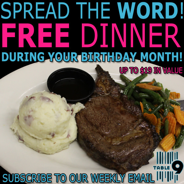 Free Dinner On Your Birthday  Get a Free Dinner During Your Birthday Month