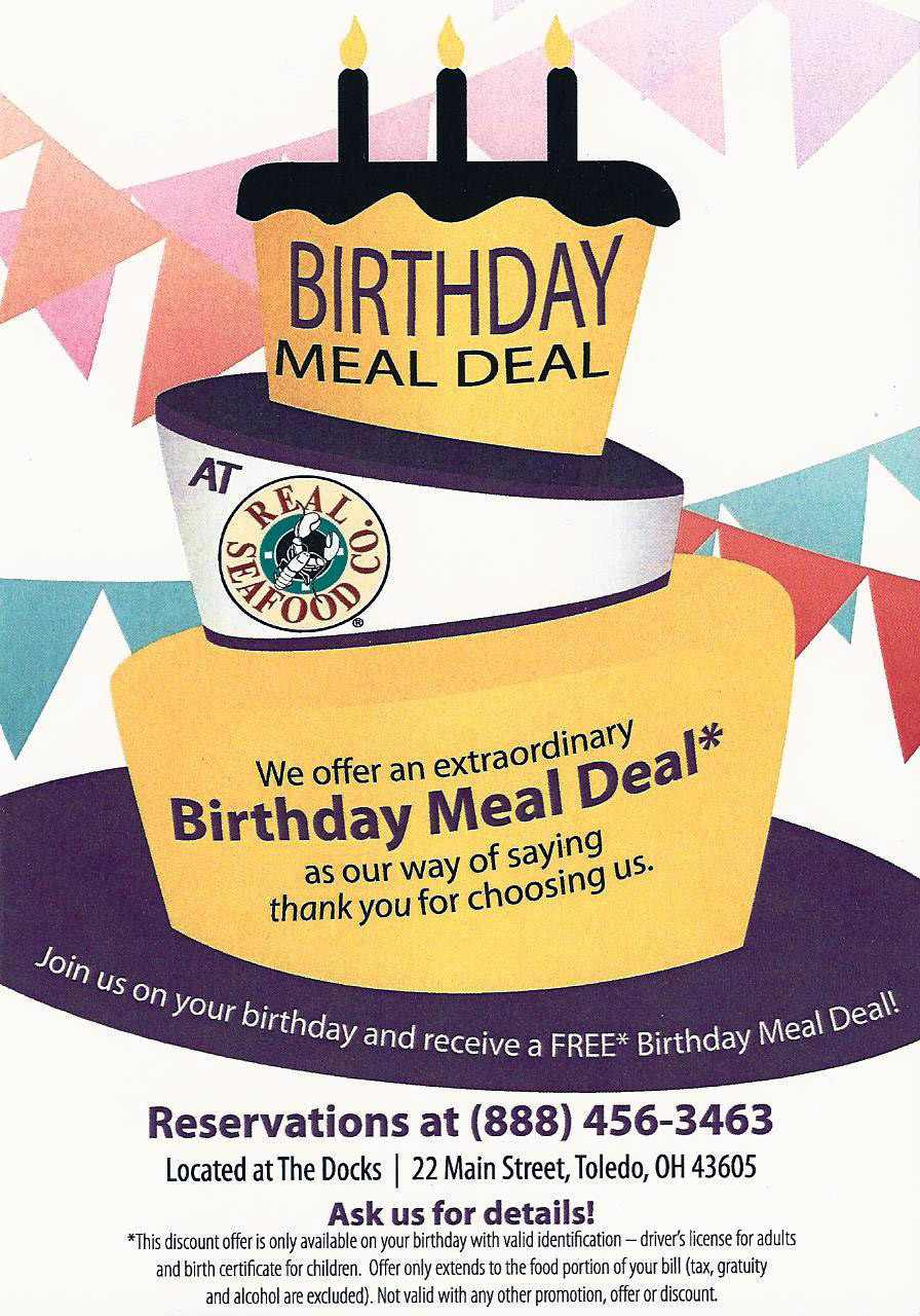 Free Dinner On Your Birthday  BIRTHDAY FREEBIE – Real Seafood Co – FREE Birthday Meal