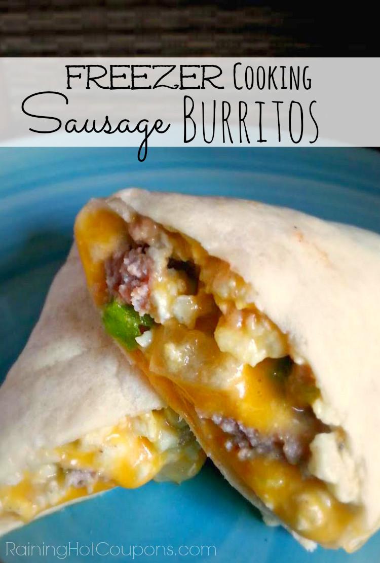 Freezable Breakfast Burritos  Easy Sausage Breakfast Burritos Freezer Cooking Recipe