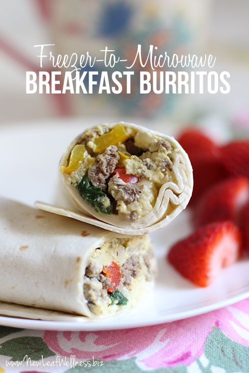 Freezable Breakfast Burritos  Freezer to microwave breakfast burritos – New Leaf Wellness