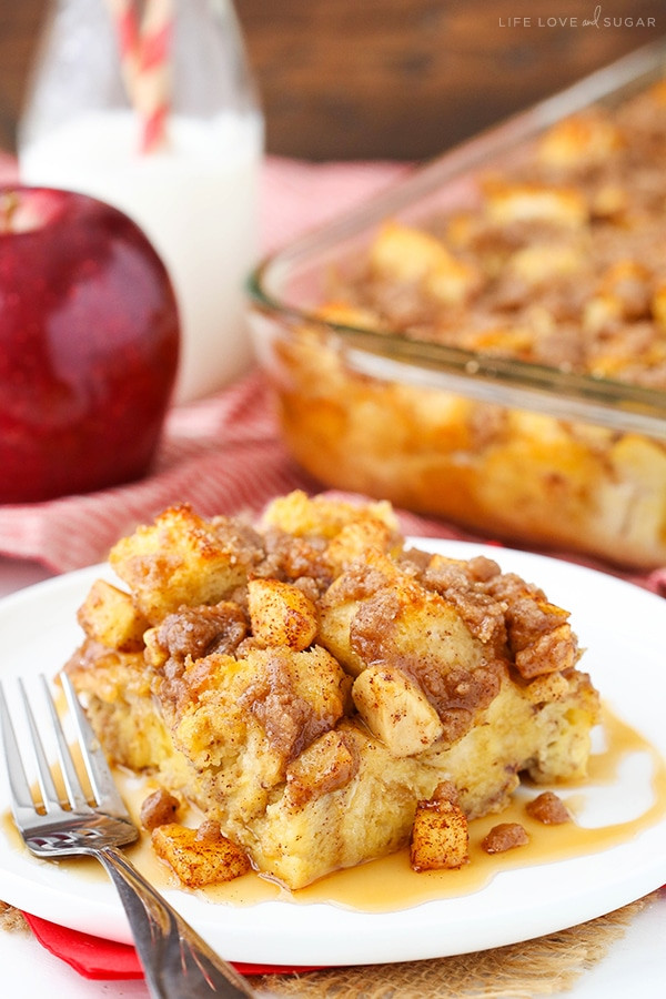 French Toast Casserole With Apples  Overnight Cinnamon Apple Baked French Toast Casserole