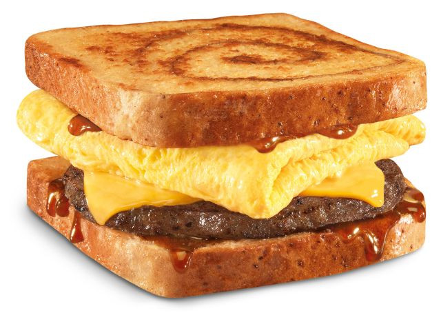 French Toast Sandwich  Carl s Jr Hardee s Unveil New French Toast Breakfast