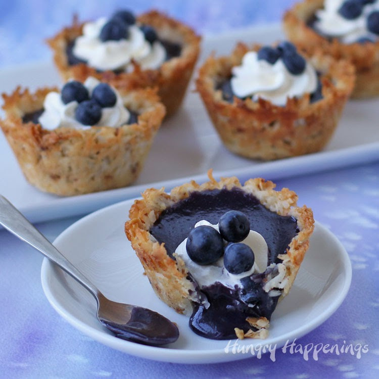 Fresh Blueberry Desserts  Coconut Macaroon Cups filled with Fresh Blueberry Curd