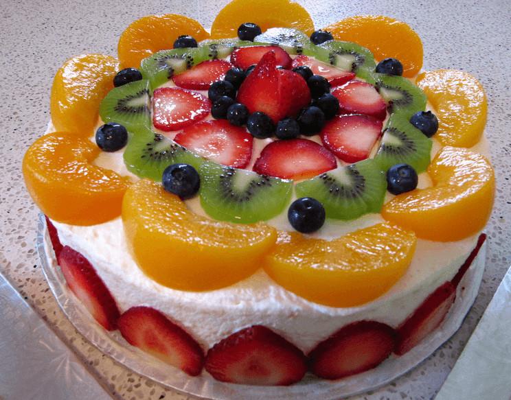 Fresh Fruits Cake Recipe  Christmas Recipe Fresh Fruit Sponge Cake & Garlic Bread